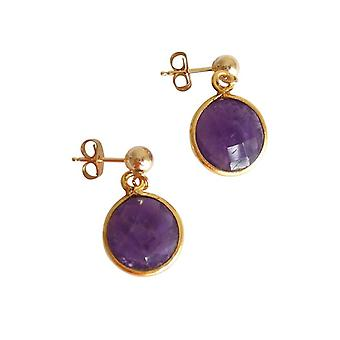 Gemshine - ladies - earrings - 925 Silver - gold plated - Amethyst - purple - CANDY - 2 cm