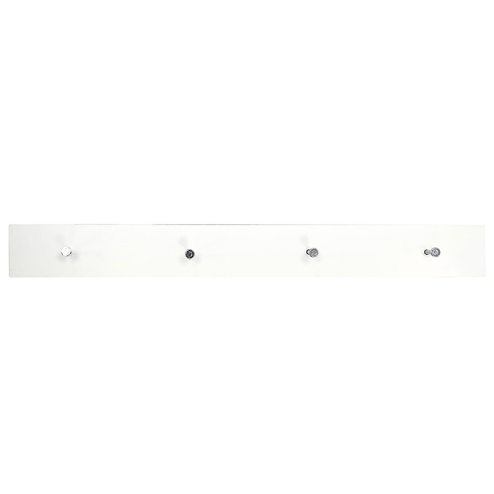 Ellis - Wall Mounted 2ft / 40cm Floating 4 Coat Hook Shelf / Bathroom Storage - White