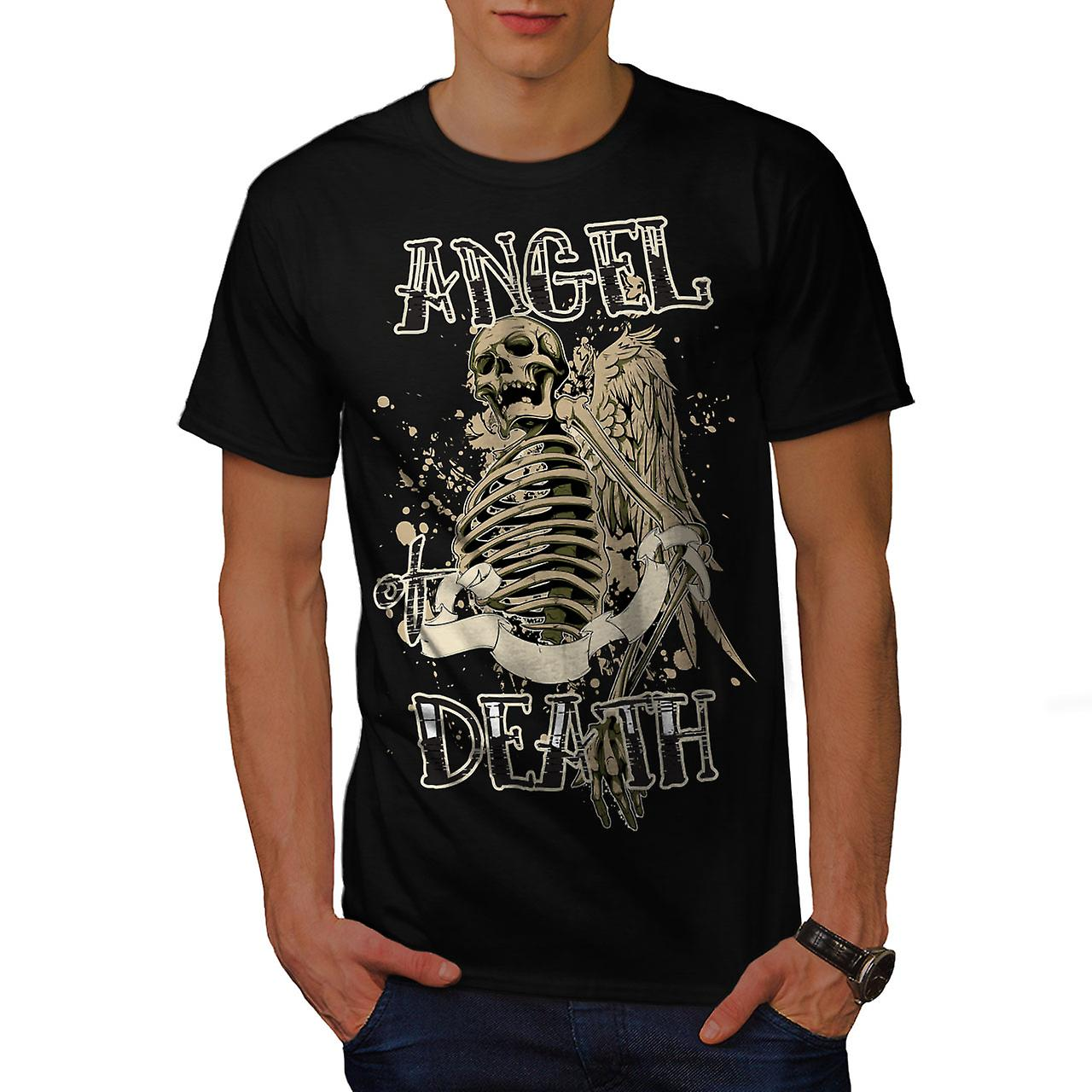 Angel Death Gothic Skull Men Black T-shirt | Wellcoda