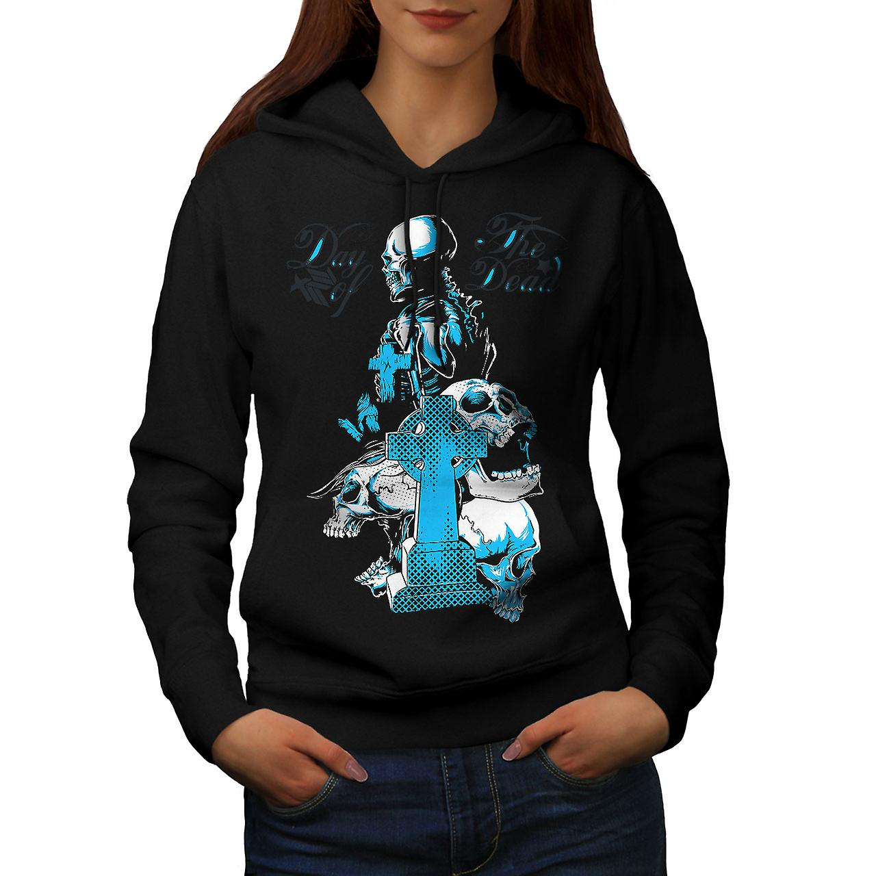 Day Of The Dead Skull Women Black Hoodie | Wellcoda