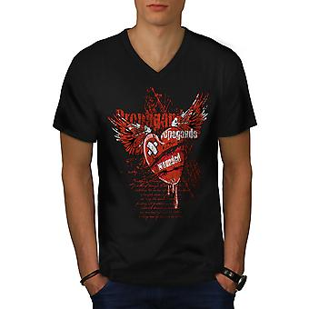 Propaganda Herz Männer BlackV-Neck T-shirt   Wellcoda