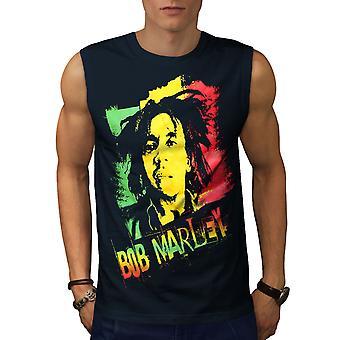 Marley Cannabis Bob Men NavySleeveless T-shirt | Wellcoda