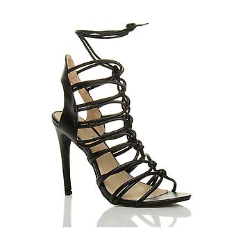 Ajvani womens high heel strappy lace up cut out ghillie caged sandals shoes