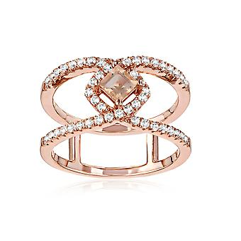 Silver Ring 925 Rose Gold Plated with 49 Swarovski Zirconia White and Champagne Crystals