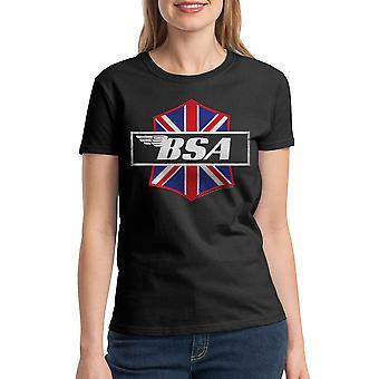 BSA motorcykler Patch angreb kvinders sort T-shirt