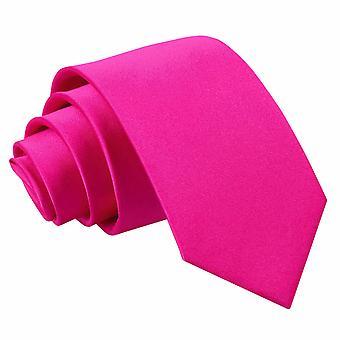 Hot Pink Plain Satin regelmäßige Krawatte für jungen