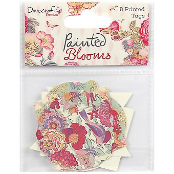 Dovecraft Painted Blooms Cardstock Tags 8/Pkg-