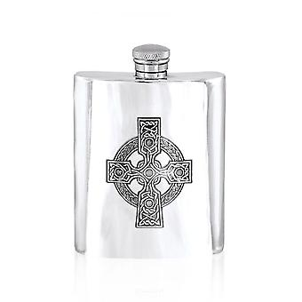 Celtic Cross Pewter Flask - 6oz