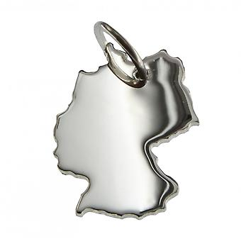 Trailer map Germany pendant in solid 925 Silver