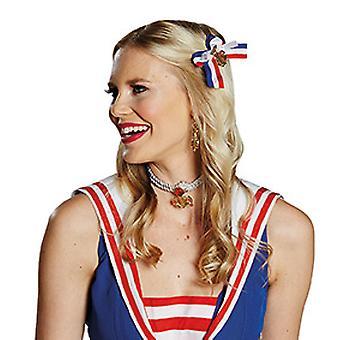 Pinzas de pelo de marinero azul blanco accesorio rojo carnaval Halloween