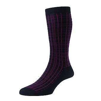 Gresham men's navy grid-lined socks by Pantherella. Made in England from Egyptian cotton lisle