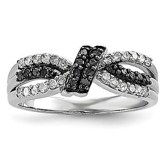 Sterling Silver Polished Prong set Open back Gift Boxed Rhodium-plated Black and White Diamond Ring - Ring Size: 6 to 8