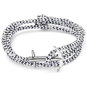 Anchor and Crew Admiral Silver and Rope Bracelet - White Noir