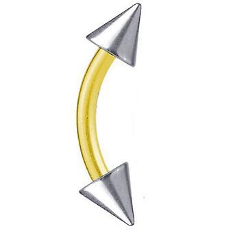 Curvada barra bicolor Piercing titanio plateado oro 1, 6 m, espiga de plata | 6-16 mm