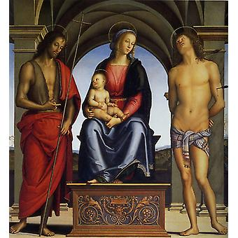 Madonna and Child Enthroned with SS. John, Pietro Perugino, 50x50cm