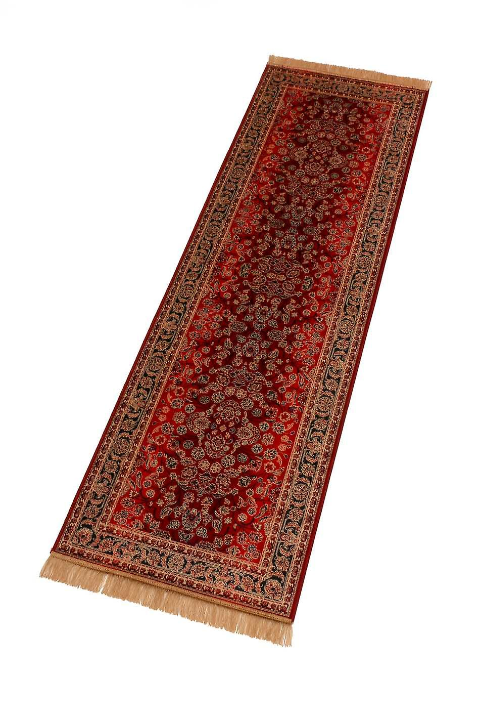 Red Afghan Ziegler Artificial Faux Silk Effect Hall Runner Rugs 5663/12