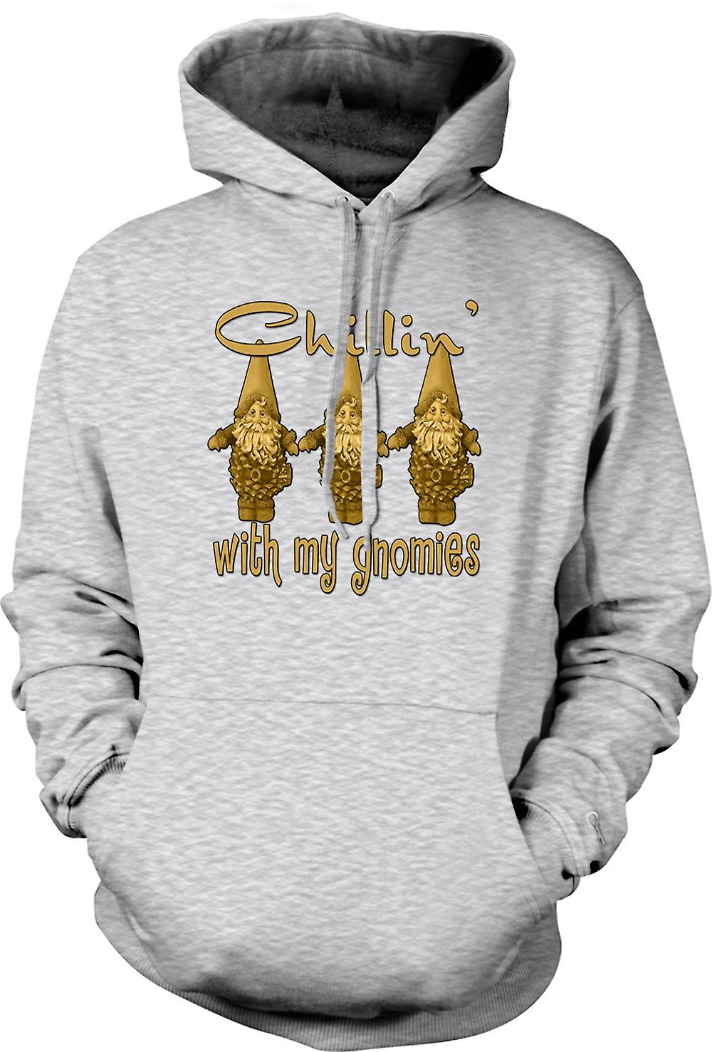 Mens Hoodie - Chillin With Gnomies - Funny