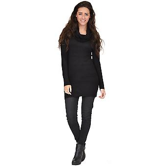 Long Sleeve Cowl Neck Fitted Stretch Knit Jumper Dress