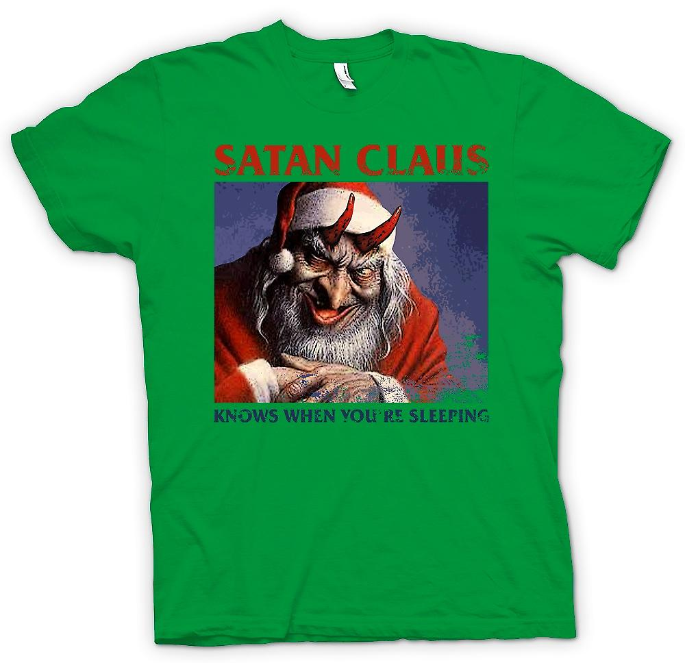 Mens T-shirt - Satan Claus Knows When Your're Sleeping - Funny Christmas