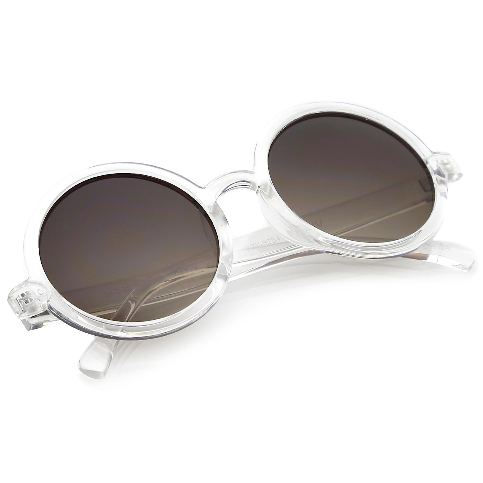 125bd5a4a Classic Retro Horn Rimmed Neutral-Colored Lens Round Sunglasses 52mm ...