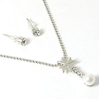 TOC Rhinestone & Simulated Pearl Drop Pendant & Stud Earring Set