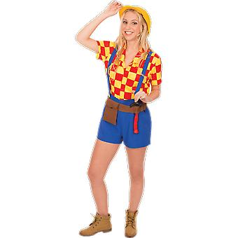 Womens Bob The Builder Novelty TV Character Fun Fancy Dress Costume