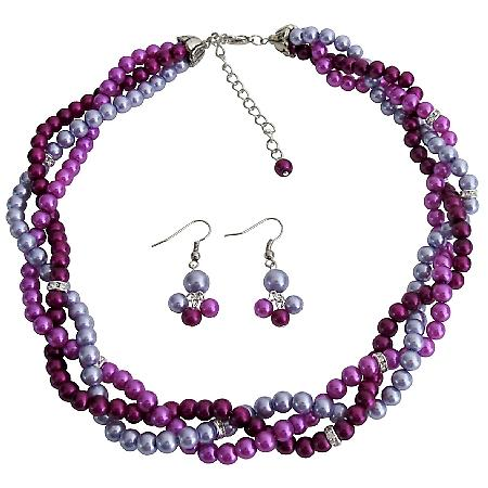 Purple Plum Lilac Trio Color Twisted Pearls Necklace Earrings Set