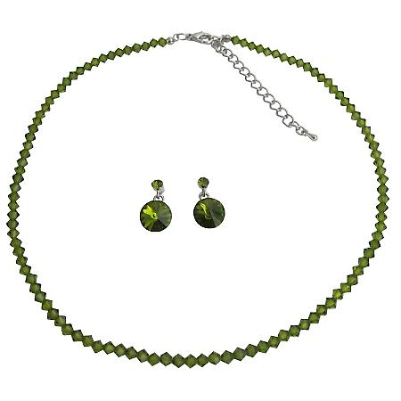 Wedding Jewelry In Olive Green Crystals with Surgical Post Earrings
