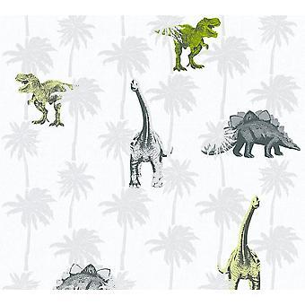Kids Dinosaur Wallpaper Childrens Bedroom Dinos Grey White Green Paste The Wall