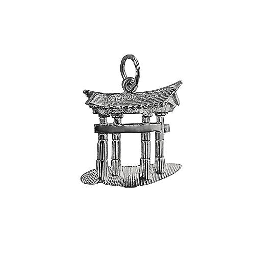 Silver 20x18mm Torii Gate Pendant or Charm