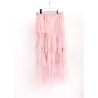 High Waisted Tiered Tulle Midi Skirt Pink