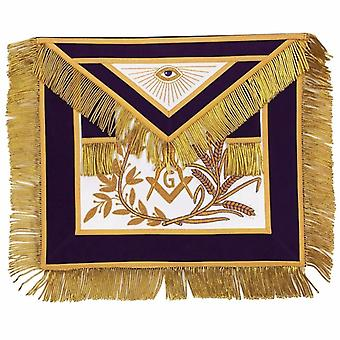 MASTER MASON Gold Embroidered Apron square compass with G Purple