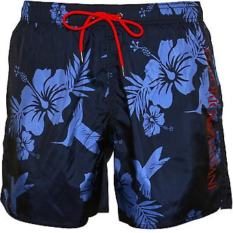 Emporio Armani Tropical Print Side Logo Swim Shorts, Blue/Navy