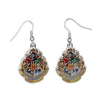 Harry Potter Silver Plated Hogwarts Crest Drop Earrings
