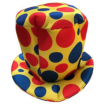 Clown Circus Yellow Dots Birthday Party Funny Women Men Costume High Top Hat