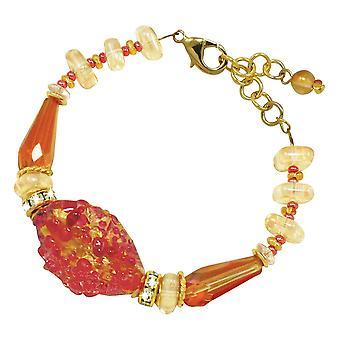 Eternal Collection Sorrento Rose Pink And Topaz Venetian Murano Glass Bracelet