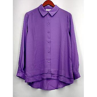 Susan graver top Feather Weave lange mouw knop front shirt Lila A273451