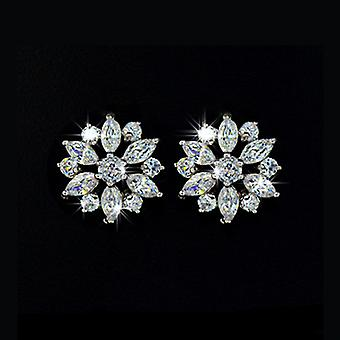 18K Gold Plated Marquise Cut Cubic Zirconia Cluster Stud Earrings, 1.4cm