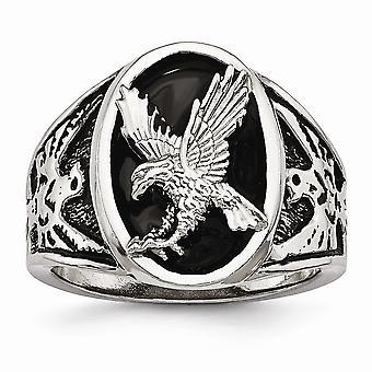 Edelstahl poliert emaillierten Eagle Ring - Ring-Größe: 9 bis 12
