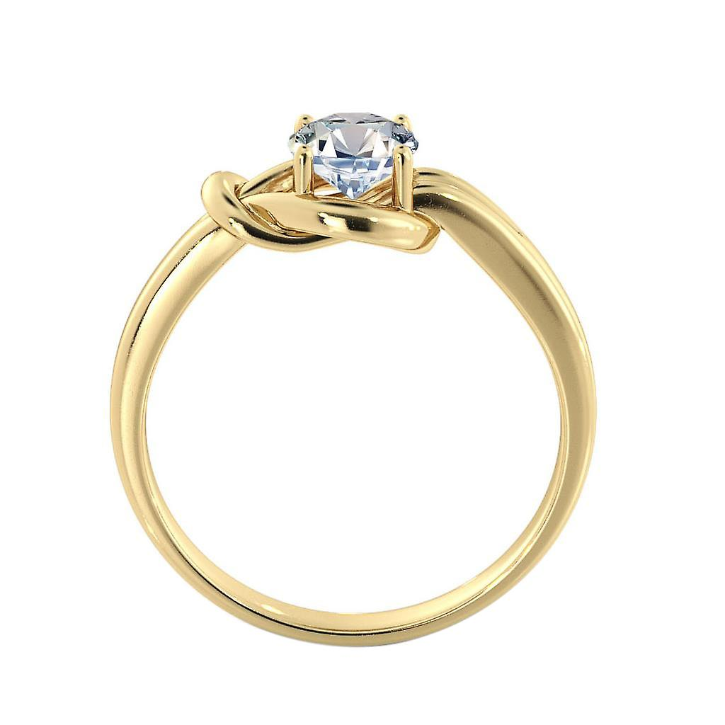 0.50 CT 5.00MM Moissanite Forever One Engagement Ring 14K Yellow Gold Knot 4 prongs Round Cut