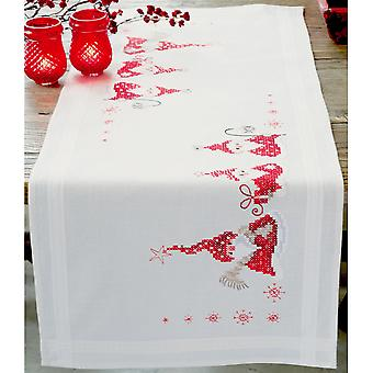 Gnomes Christmas Table Runner Stamped Embroidery Kit-16