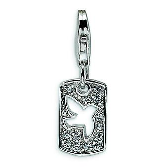 Sterling Silver CZ Cut-out colomba pace clip-on con astice Clasp fascino - misure 27x9mm