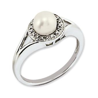 Sterling Silver polerat rodium-plated diamant och sötvatten odlade pärla Ring - Ring storlek: 5 till 10