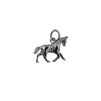 Silver 13x19mm Saddled Cantering Horse Pendant or Charm