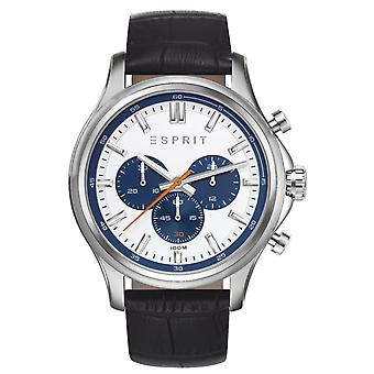 ESPRIT mens watch bracelet watch Mathias leather Chrono ES108251003