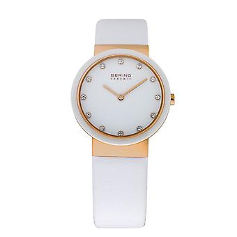 Bering ladies slim ceramic - 10729-856 leather wristwatch watch