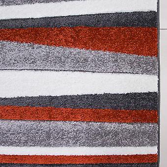 Terra & Grey Striped Living Room Rug - Rio