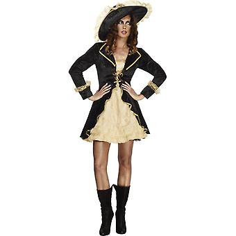 Fever collection Swashbuckler ladies costume black dress petticoat and hat