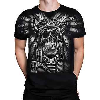 Liquid Blue - INDIAN SKULL - Short Sleeve T-Shirt PLUS SIZES