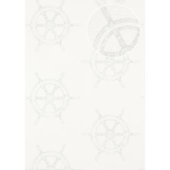 Graphic cream wallpaper Atlas SIG-585-1 non-woven wallpaper smooth, shimmering in the maritime design silver-grey 5.33 m2 perl white pure white